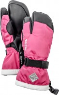 Hestra Gauntlet 3-finger junior ski gloves, pink