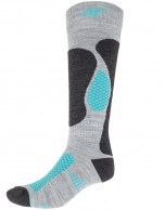 4F womens Ski Socks, cheap, grey/turquoise