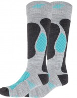 4F  Cheap Womens Ski Socks, 2-pair, grey/turquoise