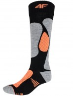 4F womens Ski Socks, cheap, black/orange