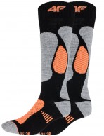 4F  Cheap Womens Ski Socks, 2-pair, black/orange