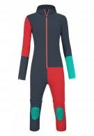 Ortovox Merino RockNWool Overall W, ski underwear, blue/red
