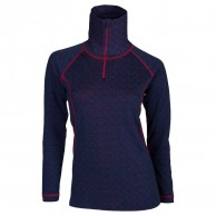 Ulvang 50Fifty turtle neck w/zip Ws, womens, New Navy/Persian Red