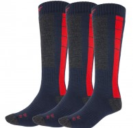 4F Cheap Mens Ski Socks, 3-pack, blue/red