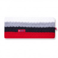 Kama Alpine Headband, striped with inside fleece, Red