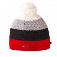 Kama Alpine hat, striped with inside fleece, Red
