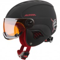Alpina Carat LE, junior ski helmet with visor, black/red