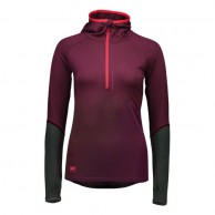 Mons Royale Checklist Hood LS, base layer, Burgundy Forest Green
