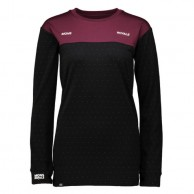 Mons Royale Boyfriend LS, base layer, burgundy Black Birdseye