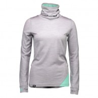 Mons Royale Cornice Rollover, base layer, Grey Marl Peppermint