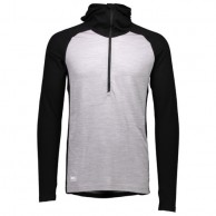 Mons Royale Checklist Hood LS, base layer, Black Black Grey Marl