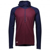 Mons Royale Checklist Hood LS, base layer, Navy Burgundy