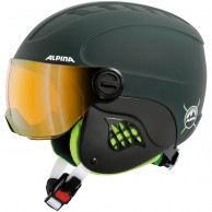 Alpina Carat LE, junior ski helmet with visor, matt green