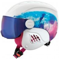 Alpina Carat LE, junior ski helmet with visor, white/blue