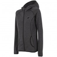 4F fleece jacket w. hood women, dark grey