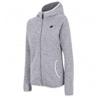 4F fleece jacket w. hood women, light grey