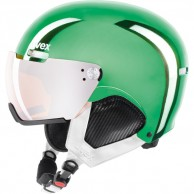 Uvex hlmt 500 helmet with visor, green chrome