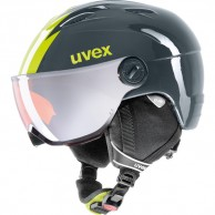 Uvex junior pro, helmet with visor, titanium lime