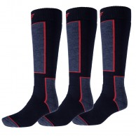4F 3 pair Cheap Ski Socks, dark navy