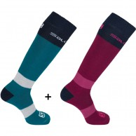 Salomon All Round ski sock, 2 pack, blue/red