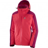 Salomon Brilliant JKT W, women's, hibiscus/cerise