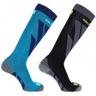 Salomon S/Access ski socks, 2-pack, hawaiian surf/black