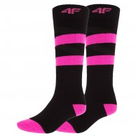 4F 2 pair Cheap Ski Socks, women, deep black
