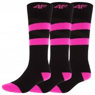 4F 3 pair Cheap Ski Socks, women, deep black