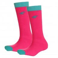 4F 2 pair Cheap Ski Socks, kids, pink
