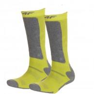 4F 2 pair Cheap Ski Socks, kids, lemon
