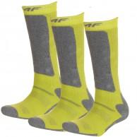 4F 3 pair Cheap Ski Socks, kids, lemon