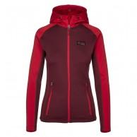 Kilpi Yoho-W, womens fleece midlayer hoodie, red