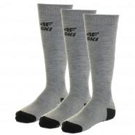 4F 3 pair Cheap Ski Socks, men, cold light grey