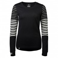 Mons Royale Original LS, base layer, women, dame, black/thick stribe