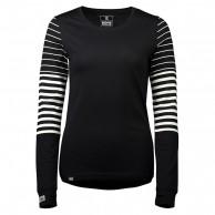 Mons Royale Original LS, base layer, women, dame, black/thick stribe