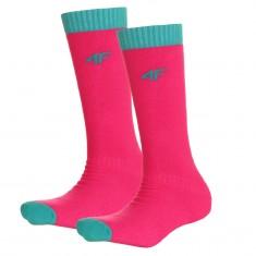 4F Ski Socks, 2 pair, kids, pink