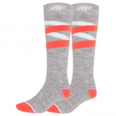 4F Ski Socks, women, 2 pair, cold light grey