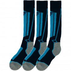 4F ski socks, 3 pair, junior, cobalt