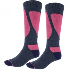 4F Womens Ski Socks, 2 pair, blue/violet
