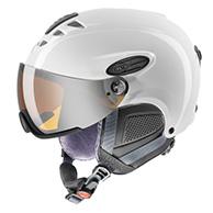 Uvex hlmt 300 ski helmet with Visor, Shiny white