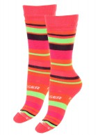 Seger Racer, wool ski socks for kids, 2-pack, pink