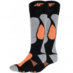4F Womens Ski Socks, 2 pair, black/orange