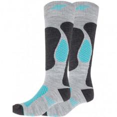 4F Womens Ski Socks, 2 pair, grey/turquoise