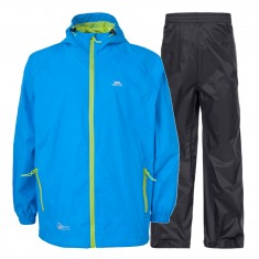 Trespass Qikpac, rain suit, junior, cobalt
