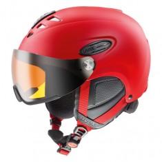 Uvex hlmt 300 ski helmet with Visor, Mat Red