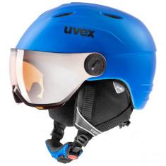 Uvex Junior Visir Pro, ski helmet with visor, mat blue